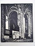 Im Dom zu Lübeck. Linolschnitt, um 1960. Signiert. 40,5 x 23 cm.