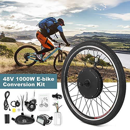 Festnight Kit di conversione Bici elettrica Kit Motore hub Ruota Posteriore Bici 48V 1000W Potente E-Bike Display LCD Kit Motore Brushless Controller Luce Segnale PAS Kit sensore Freno Bici