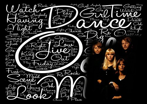 ABBA–Póster de Dancing Queen–Letras–pop star Legend Superstar King mejor foto de color de imagen única Impresión A3Póster