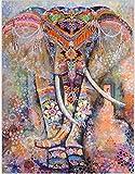 Tenture Imprimé Motif 3D Eléphant, Tapisserie Murale Indian Mandala Bohemian Rétro Style/ Tapis de Plage/ Nappe de table / Courverture de pique-nique - Dimension 130x150cm ( Multicolore )