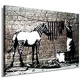 Fotoleinwand auf Keilrahmen - Banksy Graffiti Washed Zebra - artfactory24 / AF0138 / Bunt / 70x50 cm