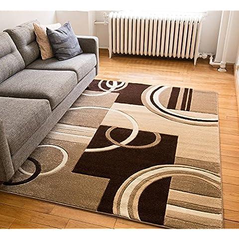 Echo Shapes & círculos rojo/gris moderno geométrico Comfy Casual Tallada a mano alfombra (fácil de limpiar manchas resistente a la decoloración libre de cobertizo abstracto contemporáneo grueso suave salón de peluche