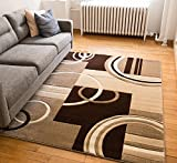 Echo Shapes & Circles Ivory / Beige Brown Modern Geometric Comfy Casual Hand Carved Area Rug 160 x 220 cm Easy Clean Stain Fade Resistant Abstract Contemporary Thick Soft Plush Living Room