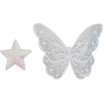 as47 Silber Glitzer Schmetterling Falter Aufnäher Patch Bügelbild 7,7 x 5,8 cm