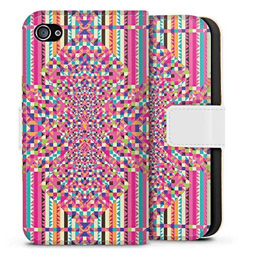 Apple iPhone X Silikon Hülle Case Schutzhülle Illusion Muster Bunt Sideflip Tasche weiß