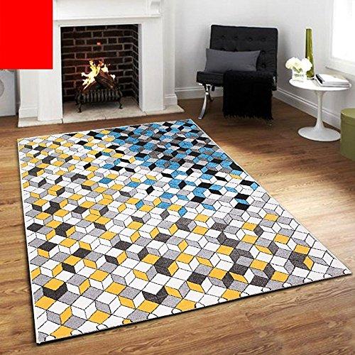 KYDJ Amerikanische Nordic Wohnzimmer Schlafzimmer Bett personalisierte Mode abstrakte Kunst Couchtisch einfach und modern Teppich (Farbe, Größe Optional) (Farbe: U)