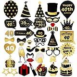 unomor 40th cumpleaños Photo Booth props Diseño de adornos de oro foto Kit - Best Reviews Guide