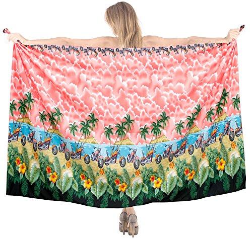 La Leela super weich likre Inselansicht Motorräder Strand eine Größe hawaiianische Badebekleidung Bikini 3 in 1 Rock sundress vertuschen Frauen Kleid 183x107 cm Sarong Rot