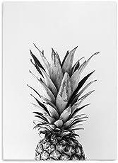 Hochwertiger Leinwanddruck mit Ananas Motiv A4 - Kunstdruck Fine Art Geschenk moderne Vintage Poster Obstmotiv Print Leinwandbild Leinwand Plakat Deko Bild DIN A4