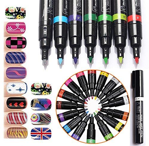 Joyeee Uñas Arte Conjunto Plumas Colores 16 - Kit