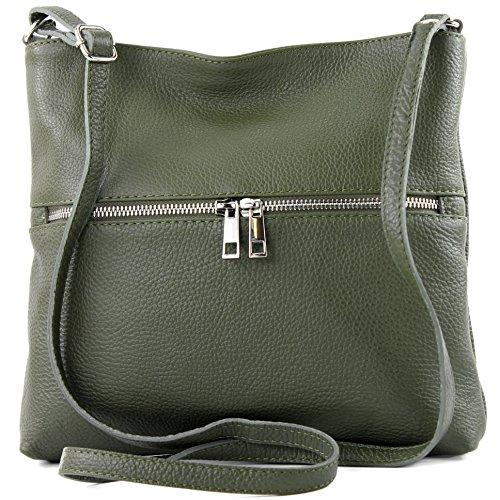 modamoda de - ital Umhänge-/Schultertasche aus Leder T144, Armeegrün, siehe Beschreibung - Leder Messenger Handtasche
