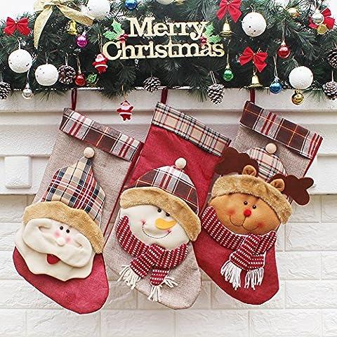 yamuda 3PCS SET für große Classic Christmas Stockings Weihnachtsstrumpf Xmas Geschenk, Textil, Set E, big