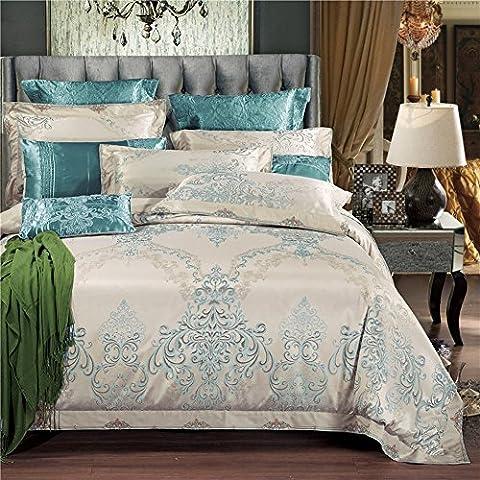 MeMoreCool 2016nuovo stile leggero Jacquard Seta Ricamo di nozze 4pezzi stile europeo Luxury Bedding Set copripiumino e lenzuolo, Seta, Green, Queen