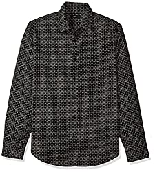 Theory Mens Long Sleeve Mini Printed Dress Shirt, Black, M