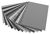 folia 46709 - Motivkarton, 50 x 70 cm, 13 Bogen sortiert, schwarz und weiß