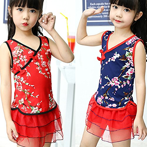 0Miaxudh Bademode, Kinder Mädchen Cheongsam Pflaume Blume Spitzenkleid Bademode Badeanzug Strand Badeanzug - Rot 4-6Y