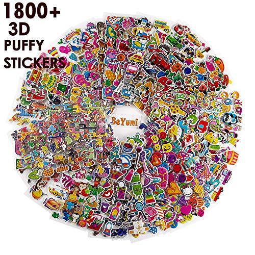 BEYUMI 58 Stücke Different Sheets Kids Aufkleber (1800+Count), 3D Puffy Stickers, Craft Scrapbooking for Kinder, Including Tier,Auto,Trucks, Flugzeug,Essen, Buchstaben, Blumen, Haustiere und Mehr!
