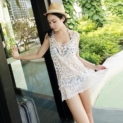 &zhou Weiblicher Strandmantel, böhmischer Hohlweste Rock, Bikini Badeanzug Bluse Schal , one size , pure white