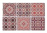 Queence | Design-Untersetzer aus Naturstein | edle Dekorative Stein-Untersetzer | für Gläser | Coaster | 6-teilig | Untersetzer-Set | Vintage Look | 'Rote Fliesen' | Größe: 10x10 cm