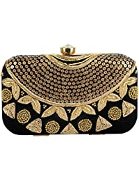 Tooba Handcrafted Box Clutch with Sequence, Zardosi and Beads on Elegant Velvet Imported Texture Specially Designed for Women & Girls in Parties/Wedding/festivals/Casual and special evenings.