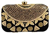 Tooba Handicraft Party Wear Hand Embroidered Box Clutch Bag Purse Potli For Bridal, Casual, Party , Wedding ( black sequence necklace 6x4)