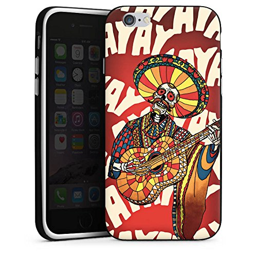 Apple iPhone X Silikon Hülle Case Schutzhülle Mariachi Totenkopf Gitarre Silikon Case schwarz / weiß