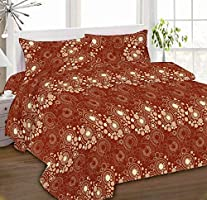 IBed Home Printed Bedsheets 3 Pieces Bedding Set - KingSize, EAT-4497-BROWN