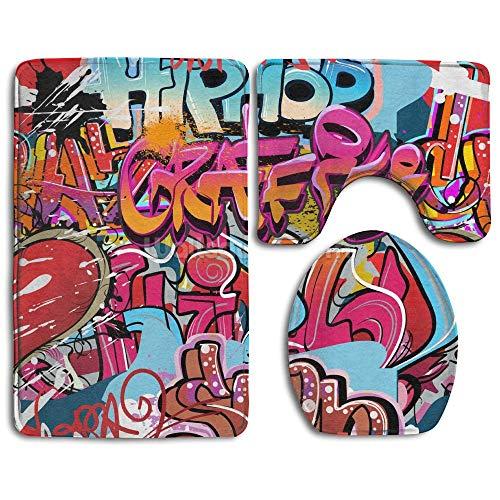 Socksforu Flannel Bathroom Rug Set,Bath Mat,Shower Mat and Toilet Cover,Non Slip and Extra Soft Toilet Kit,Anti Slippery Rug,3 Piece-Hip Hop Graffiti -