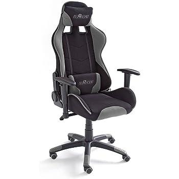 mc racing 2 gamingstuhl b rostuhl schreibtischstuhl inklusiv kissen schwarz grau 69 x 125. Black Bedroom Furniture Sets. Home Design Ideas