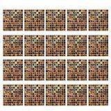 MagiDeal 20pcs Fliesenbilder Fliesensticker Dekosticker für Badezimmer Küchen, Selbstklebend - Braun