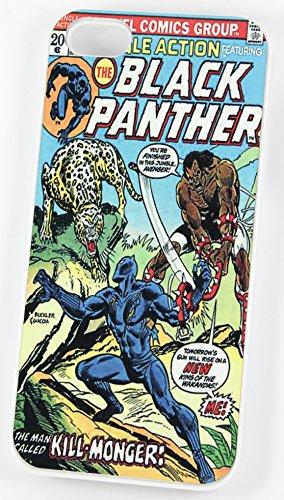 La Panthère Noir DC Super Héros Marvel Comic Cover (Coque rigide en plastique pour iPhone 5/5S Blanc/Vintage