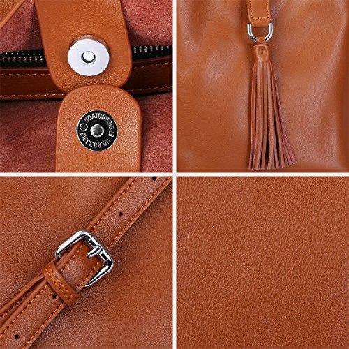 S-ZONE Donne Piccola borsa in vera pelle trasversale con sacchetto di spalla in pelle viva (Ivory) Marrone