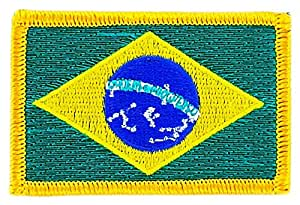 Patch écusson brodé drapeau brésil brésilien thermocollant backpack