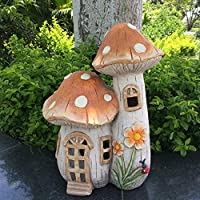 ZHUZHUXIA Illuminated Fairy House Garden Decoration Resin Dwelling Mushroom Ornament Outdoor Waterproof Garden Statue LED Lights For Home Decoration