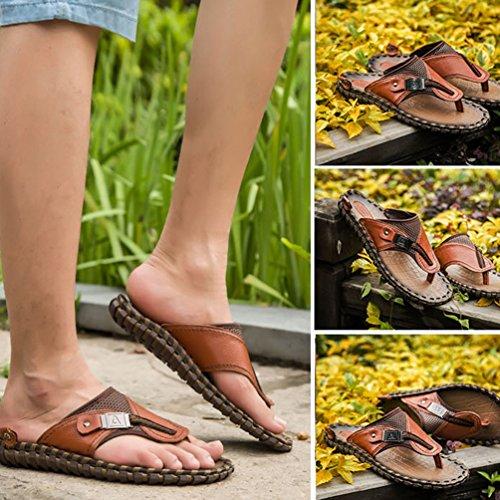 Baymate Herren Sommer Strand Flache flip flop Hausschuhe Pantoletten Zehentrenner Sport Outdoor Sandalen Schuhe Braun