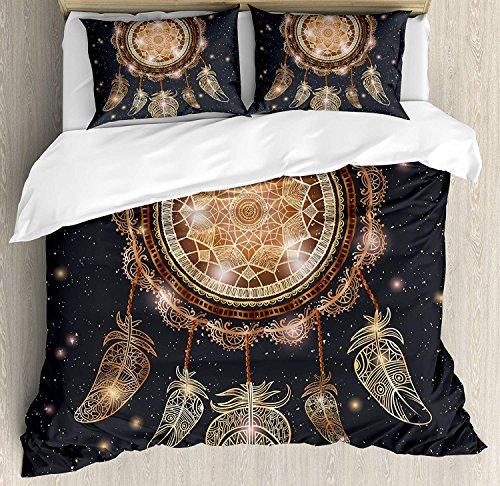 LIS HOME Mandala-Bettbezug-Set King Size, Indianer Dreamcatcher Motiv Magic Feathers Hippie-Design auf Sternenhimmel, dekoratives 3-teiliges Bettwäscheset mit 2 Kissen-Shams, Multicolor