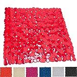 MSV Alfombra de Ducha, Diseño Piedras Plástico y PVC, Rojo 53x53x1 cm
