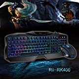 Rii RK400 LED-Hintergrundbeleuchtung 7 Farben Helligkeit USB wasserdicht Gaming Tastatur und Maus Set, maus mit 1000-1600-2000 DPI und 4 Tasten, QWERTZ DE Layout für Pro Gamer schwarz(Gaming Tastatur und Maus Set) - 4