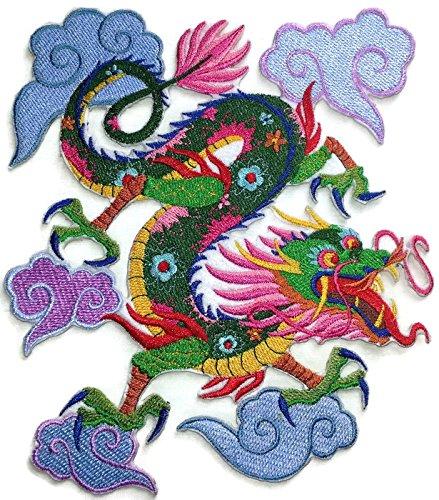 """Beyondvision Personalizada De Colores Asiático Parches De Costura Dragón De Hierro Bordado 6,74"""" X 7,8"""" Verde, Marrón, Rosa, Azul, Rojo"""
