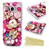 Samsung Galaxy S8 Plus Case ,Galaxy S8 Plus Bling Case - Mavis's Diary 3D Handmade Bling Pink Rhinestone Diamonds Luxury Crystal Crown Castle Pumpkin Carriage Diamonds Flower [Full Edge Protection] Hard PC Transparent Cover