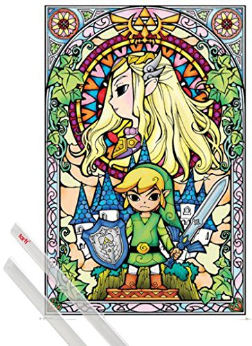 Poster + Suspension : The Legend Of Zelda Poster (91x61 cm) Link Et Kit De Fixation Transparent 1art1®