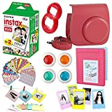 #8: 8 in 1 Fujifilm Instax Mini 8 Instant Film Camera Accessories Bundles - Fujifilm INSTAX Mini Film Twin Pack - Raspberry Case, Selfie Lens, 4 Colored Filters, Hang Frames, Stickers And More All In One