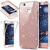 Coque Huawei P9 Lite,Etui Huawei P9 Lite,Intégral 360 Degres avant + arrière Full Body Protection Bling Brillant Glitter Transparent Silicone Gel Case Coque Housse Etui pour Huawei P9 Lite,Or rose