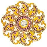 Curiocity Handicraft Designer Rangoli ,Yellow Base Color - 16 Inch Dia - 11 Piece Set - Packed In Sturdy Crystal Box