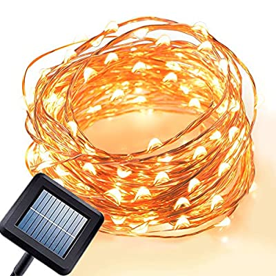 Amir Solar Powered String Lights, 100 LED Starry String Lights, 7 Meters, Waterproof 1.2 V Portable with Light Sensor, for Garden, Home, Wedding, Party, Christmas, Halloween (Warm White)