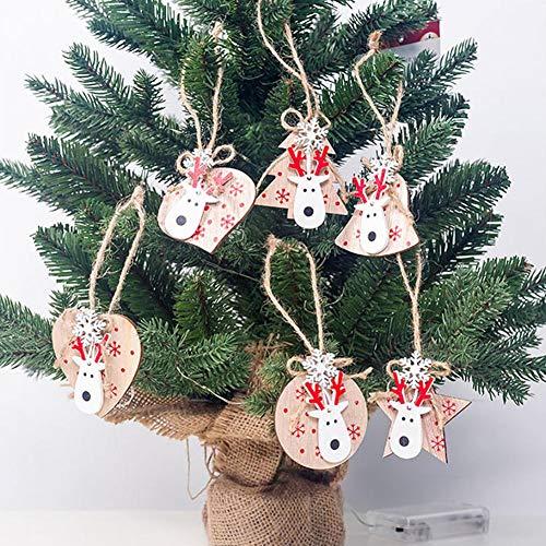 talogca Weihnachten Aus Holz Elch Puppe Hängende Ornamente, DIY Holz Handwerk Weihnachtsdekoration, Christbaumschmuck -