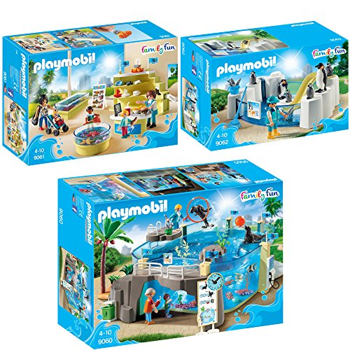 Preisvergleich Produktbild PLAYMOBIL® Family Fun 3er Set 9060 9061 9062 Meeresaquarium + Aquarium-Shop + Pinguinbecken
