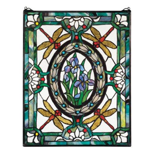 Tiffany Glasmalerei-panels (Buntglas-Panel - Libelle Blumenbuntglas-Fenster-Behang - Fensterbehandlungen)