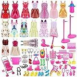 Siiruc Vestidos para Barbie, 120 Piezas Accesorios Barbie Ropa de Muñecas de Barbie, Mini Vestidos de Moda, Zapatos, Perchas y Accesorios de Cocina para Muñecas Barbie cumpleaños Soporte para niñas