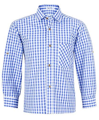 Kinder Trachtenhemd Blau Weiß kariert Gr. 128 - Schönes Trachten Hemd für Kinder in verschiedenen Farben verfügbar - Perfekt zur Lederhose für Buben